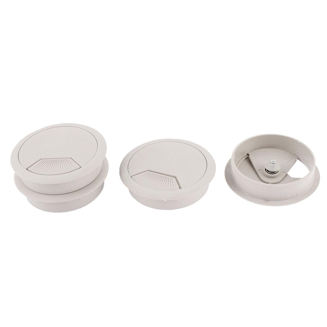Plastic 60mm Round Computer Desk Wire Cable Hole Cover Grommets 4Pcs