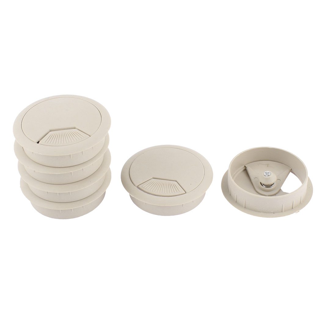 Plastic 50mm Round Computer Desk Wire Cable Hole Cover Grommets 6Pcs
