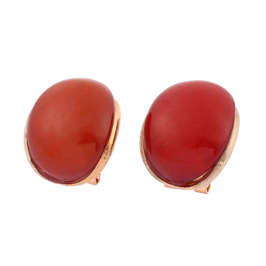 Lady Oval Shape Pierced Ear Stud Earrings Jewelry Party Gift Pair