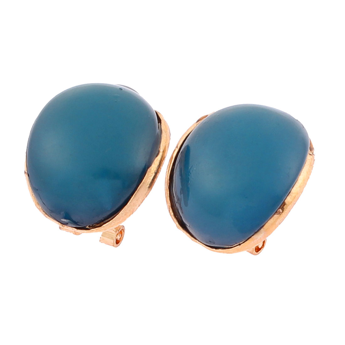 Lady Cambered Oval Shape Buckle Ear Stud Earrings Jewelry Pair