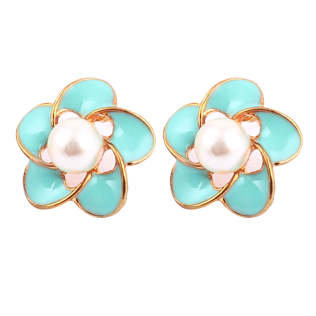 Lady Women Flower Faux Pearl Pendant Ear Stud Earrings Jewelry Pair