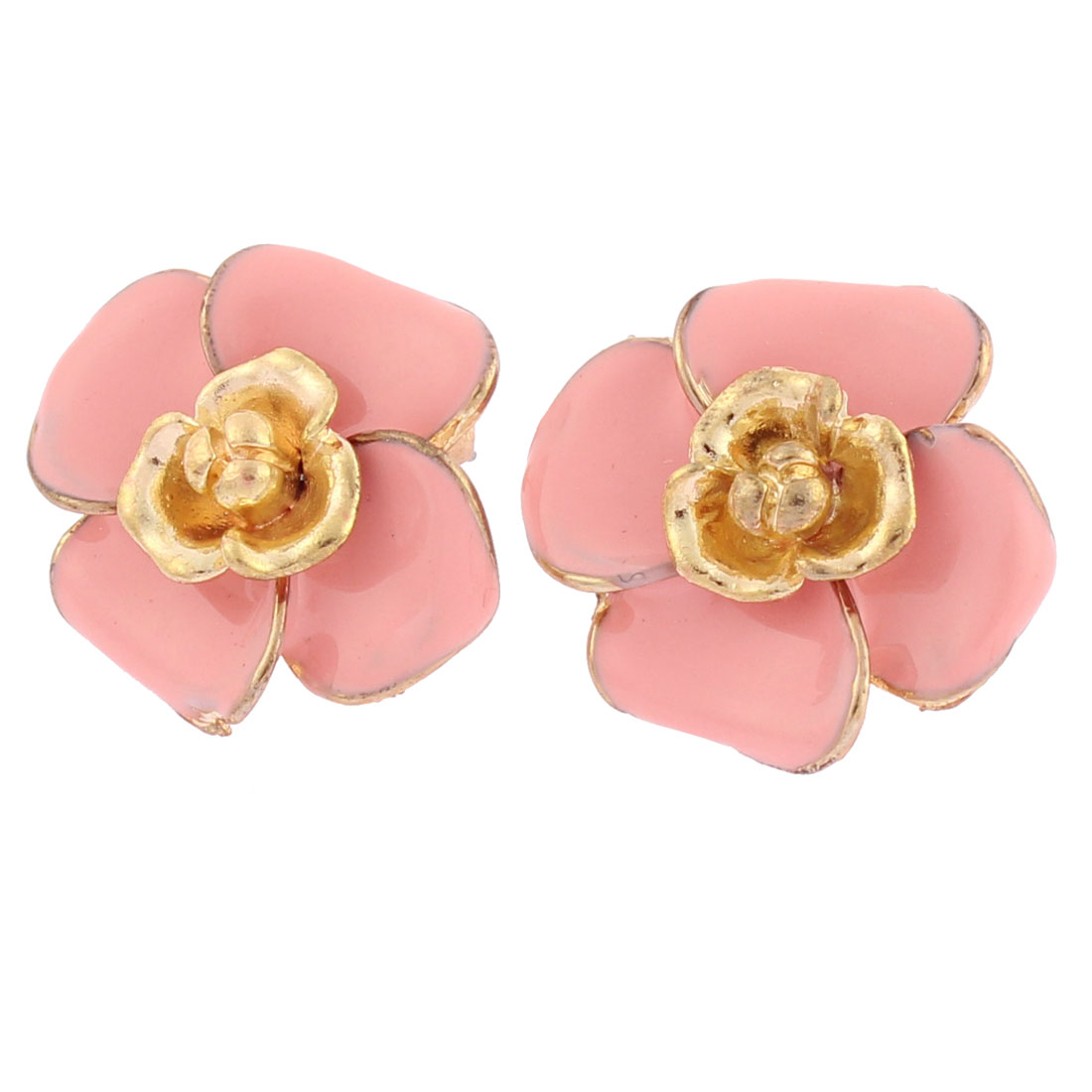 Women Lady Light Pink Flower Earrings Ear Stud Jewelry Gift Pair