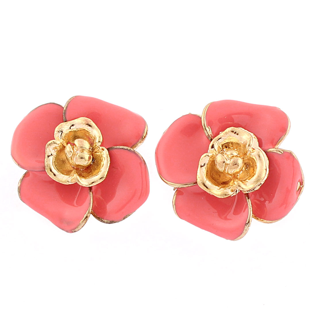 Women Pink Flower Shape Ear Stud Earrings Jewelry Pair