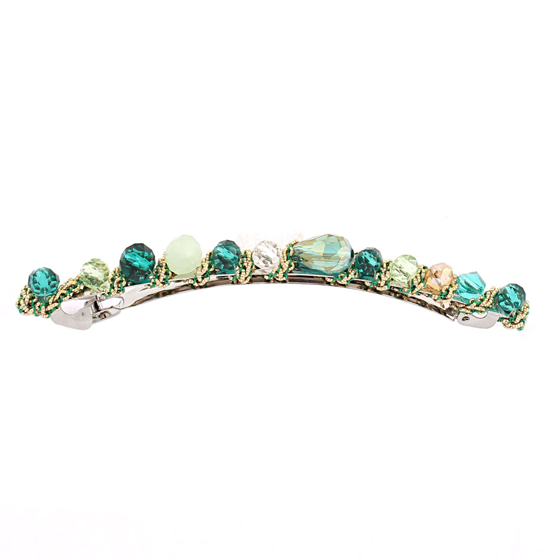 Lady Women Rhinestone Decor Metal French Clip Hairclip Barrette