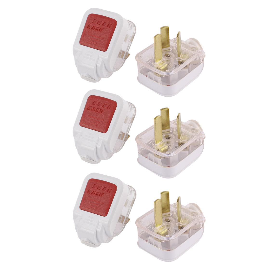 AU Plug AC 250V 10A Rewirable Power Cord Connector Adapter 6Pcs