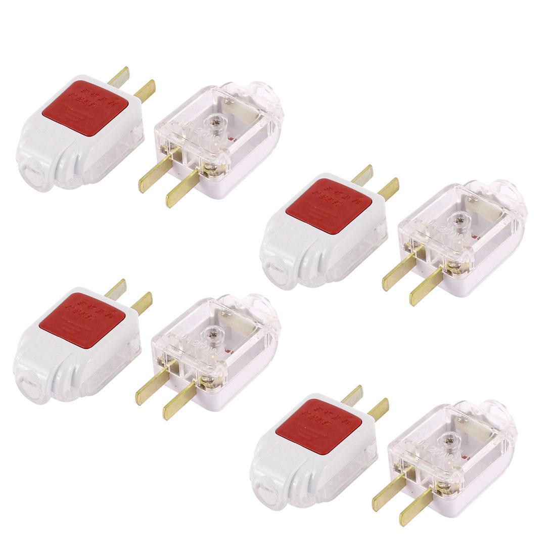 US Plug AC 250V 10A Rewirable Power Cord Connector Adapter 8Pcs