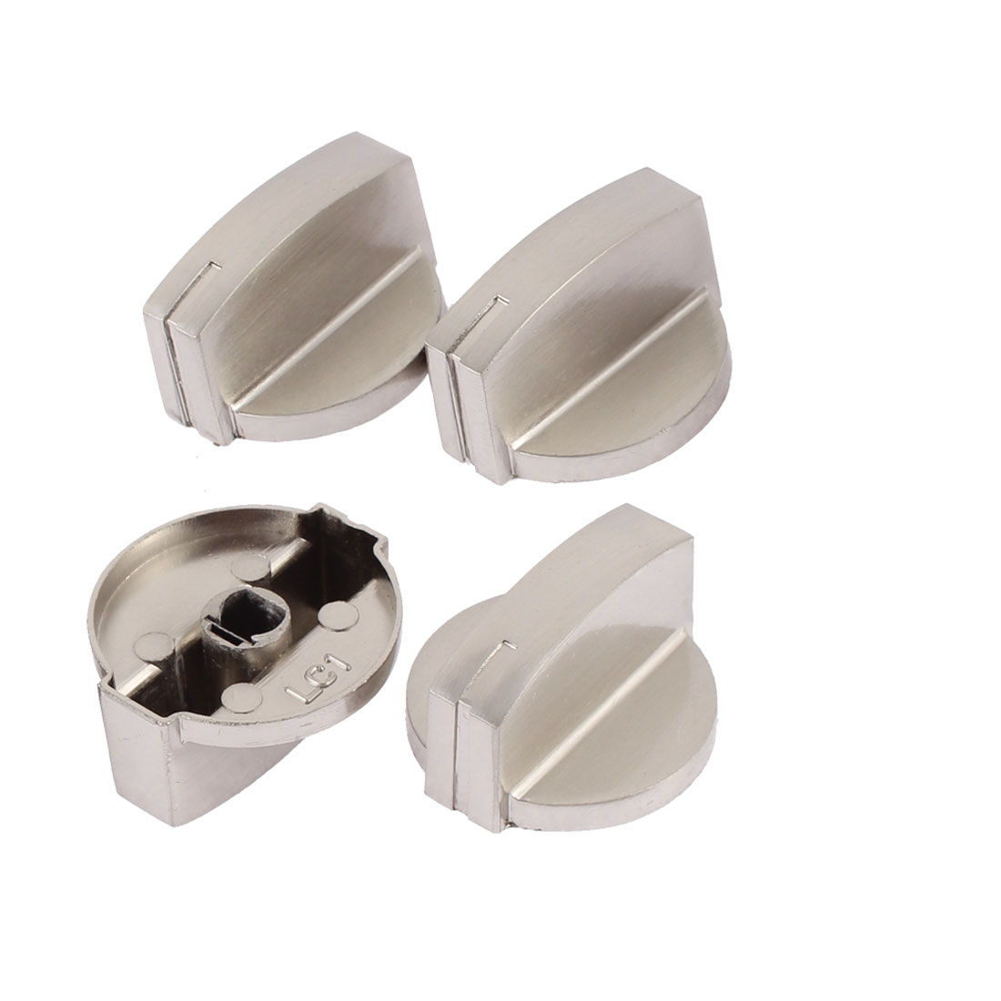 Alloy Pointer Potentiometer Control Switch Knob Cap Silver Tone 4Pcs