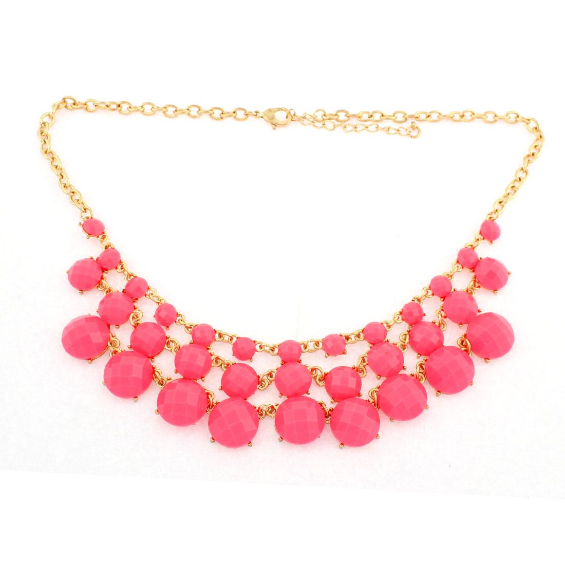 Women Pink Rhinestone Pendant Chain Necklace Choker Bib Jewelry