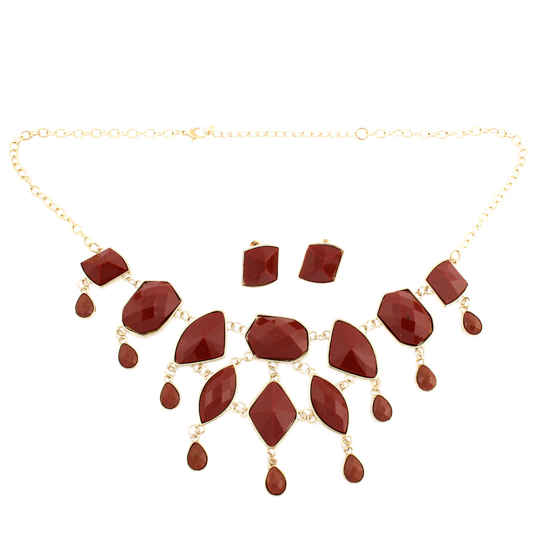 Brick Red Faceted Stud Drop Bib Chain Necklace Choker Earrings Jewelry Set