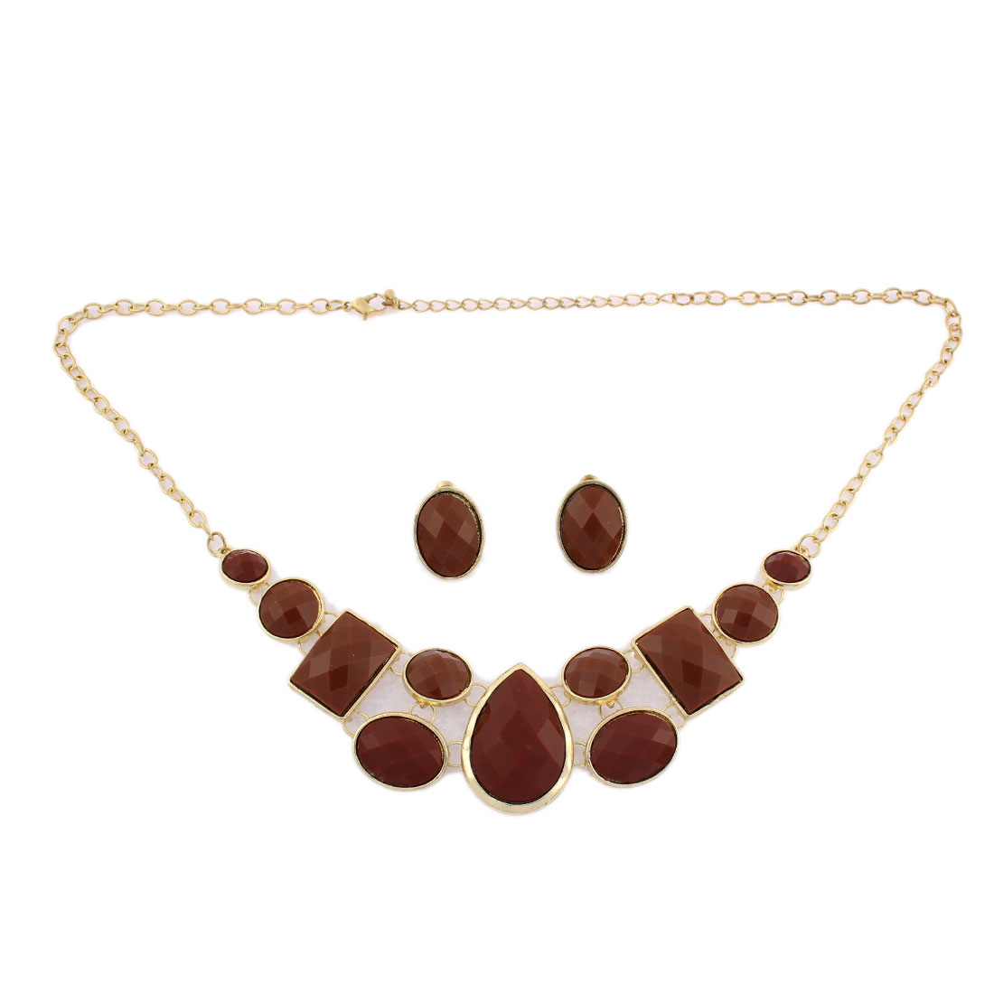 Oval Red Faceted Pendant Gold Plated Chain Necklace Earring Set Jewelry