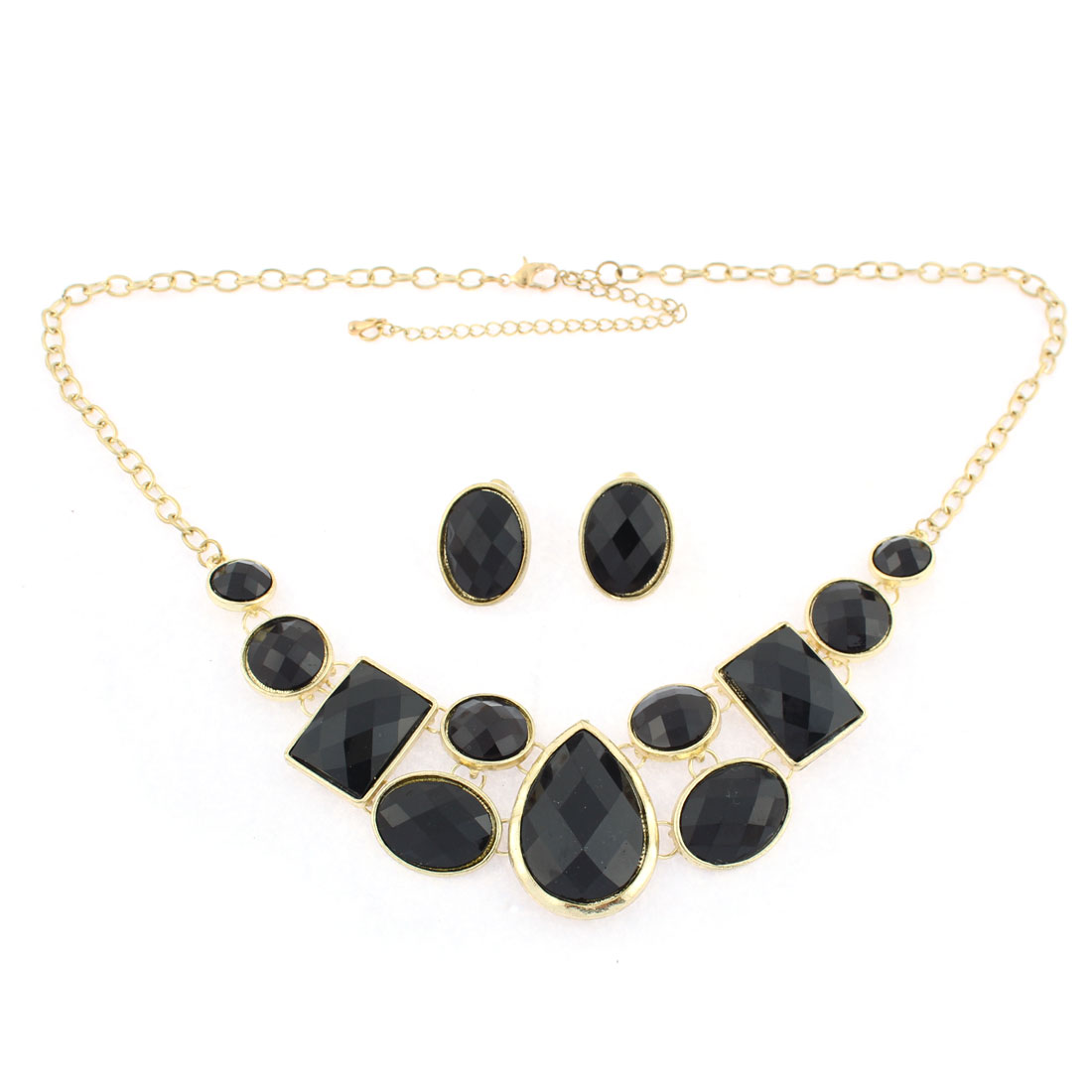 Women Black Rhinestone Beads Chain Necklace Earrings Set Wedding Jewelry