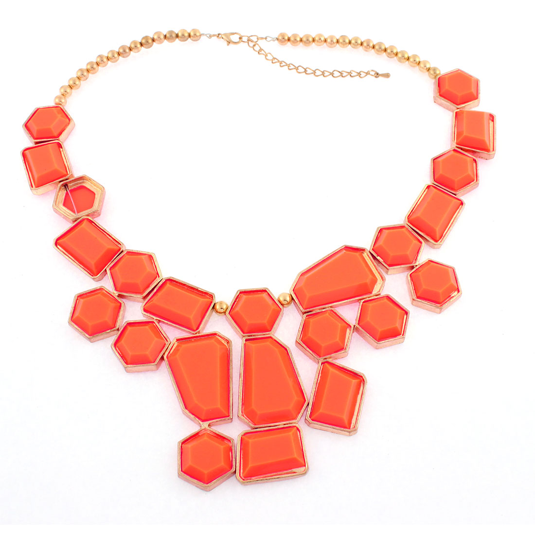 Orange Faceted Drops Gold Tone Chain Necklace Choker Jewelry Gift