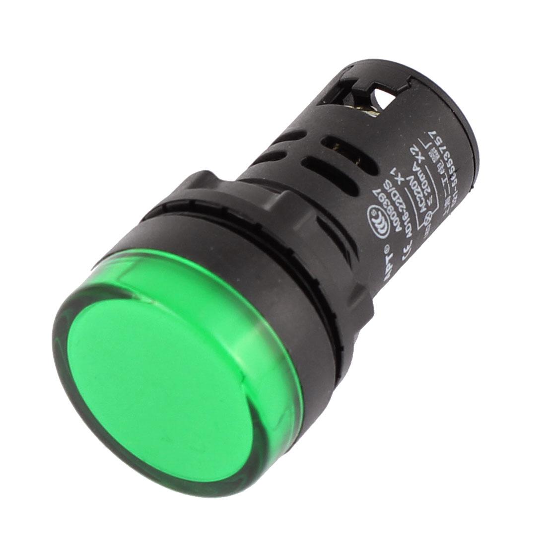 AC 220V 20mA Green Electrical Circuit LED Indicator Pilot Signal Light Lamp