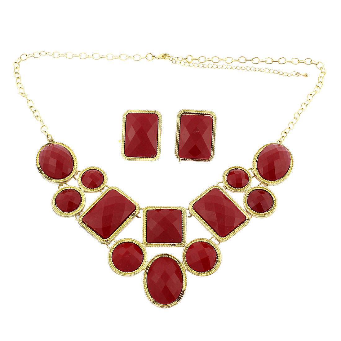 Red Faceted Faux Crystal Pendant Chain Necklace Earring Set Jewelry