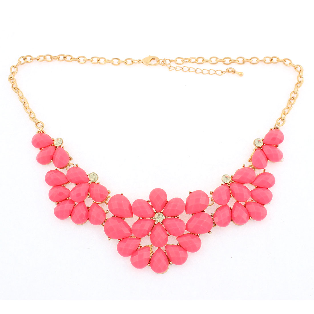 Pink Faceted Stone Pendant Gold Plated Chain Necklace Jewelry