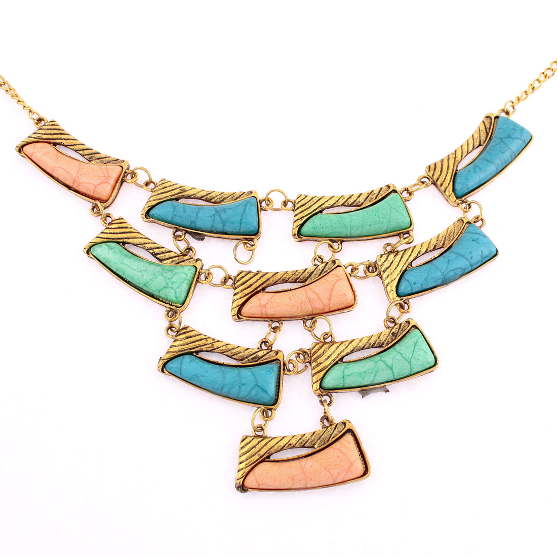 Women Gold Tone Chain Pendant Statement Necklace Choker Jewelry