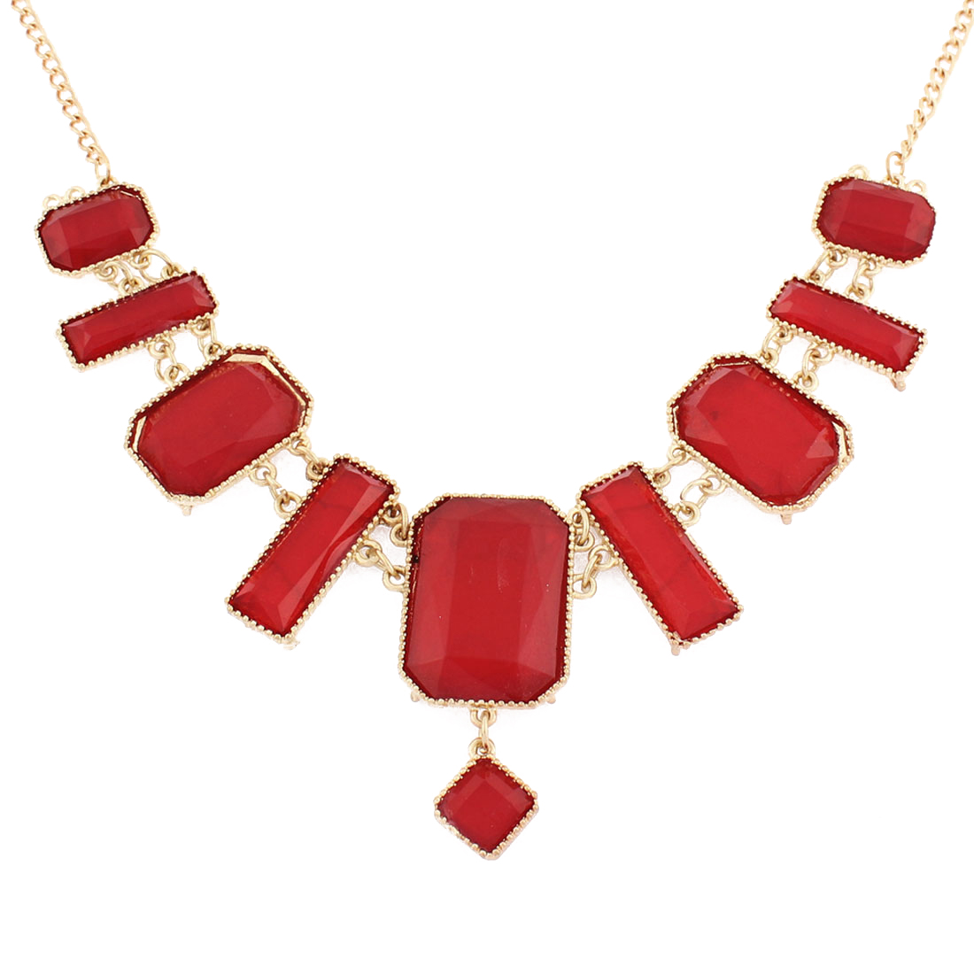 Red Rhinestone Pendant Evening Party Chain Necklace Bib Jewelry