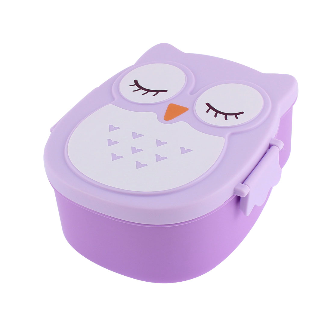 Plastic 2 Compartments Bento Lunch Box Food Storage Container Purple
