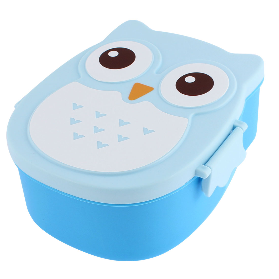 Cartoon Owl Design Plastic Lunch Box Food Container Storage Bento Blue