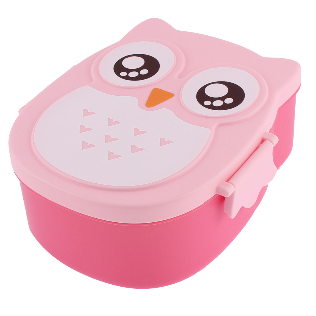 Cartoon Owl Shape Plastic Lunch Box Case Food Container Pink