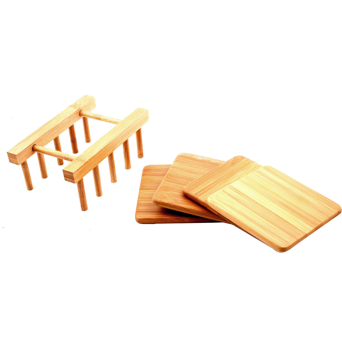 Bamboo Kitchenware Plate Dish Drainer Holder Stand Rack DIY Tool Set