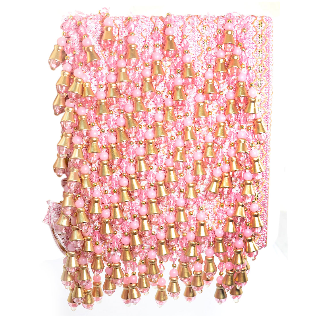 Pink Beaded Curtain Edge Lace Trim Gimp Decor 12M Length