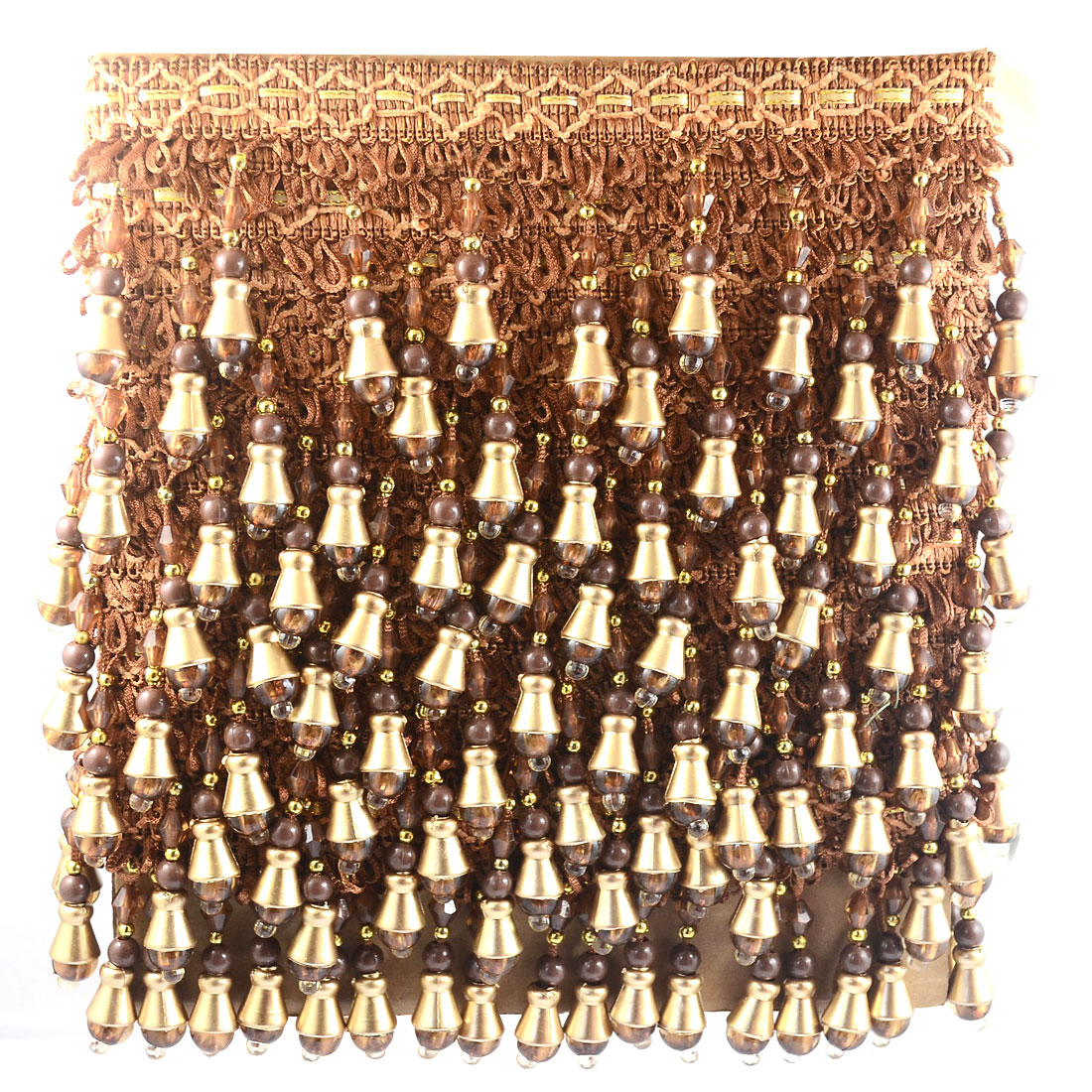 12M Long Beaded Decorative Curtain Lace Trim Fringe Upholstery Brown