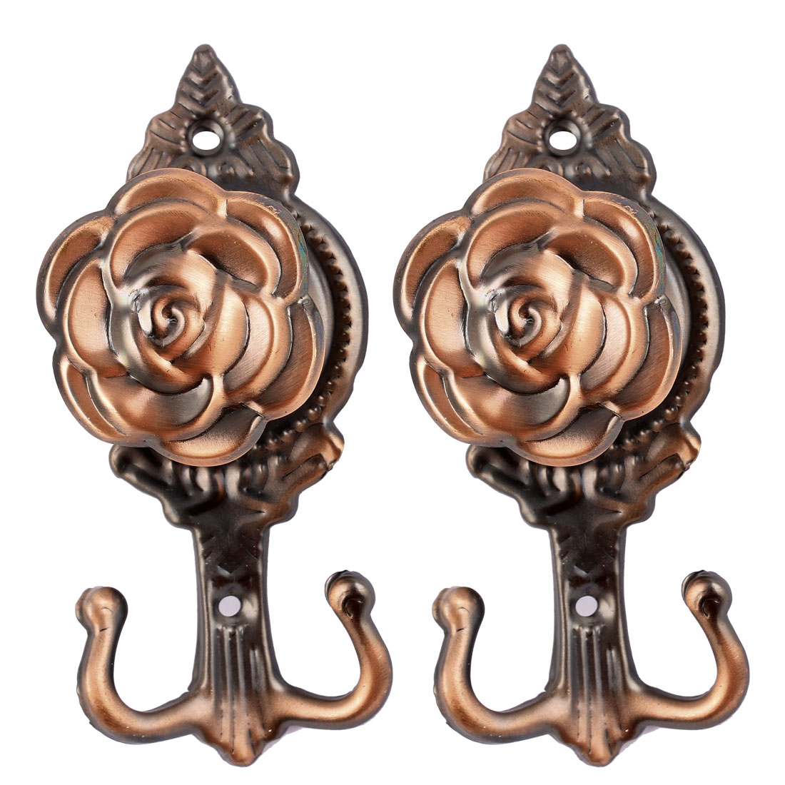 Copper Tone Rose Shape Curtain Hooks Wall Tassel Tieback Holder Hanger 2pcs