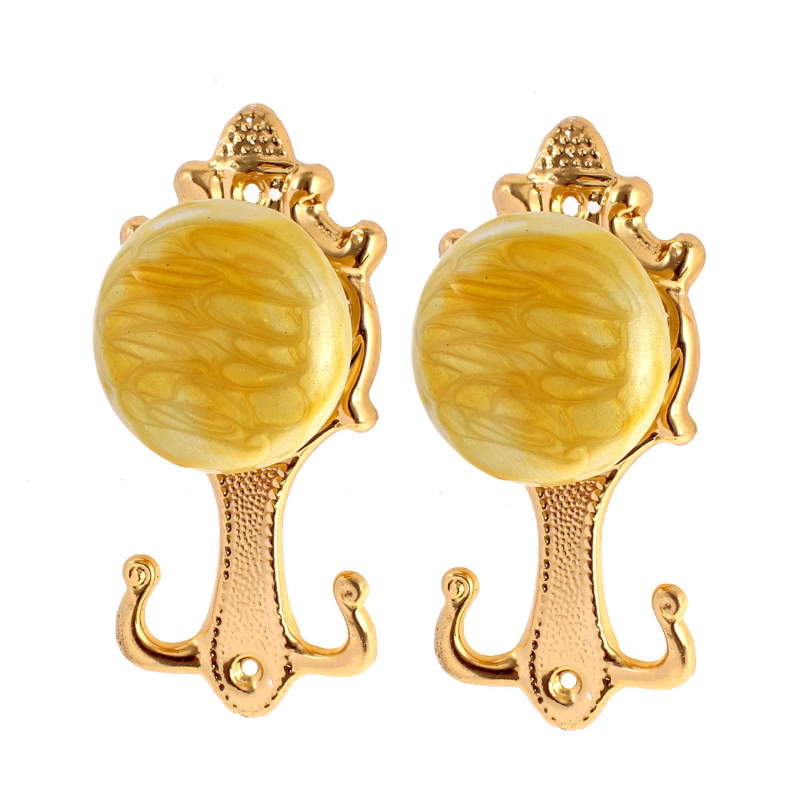 Gold Tone Fake Marble Drapery Tie Back Curtain Tassel Hooks Holder 2pcs