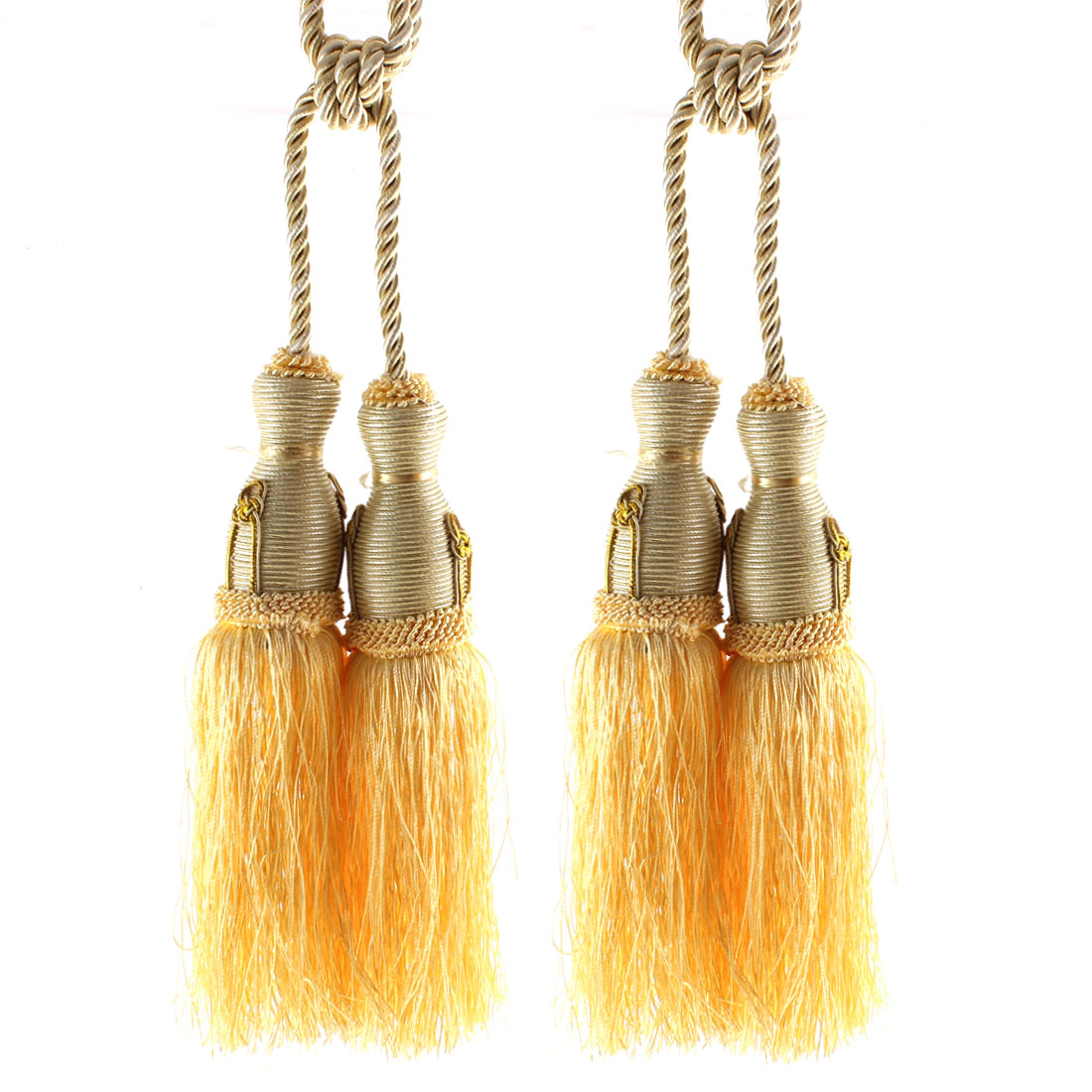 Yellow Pair Dual Rope Tassels Curtain Tieback Window Balcony Drape