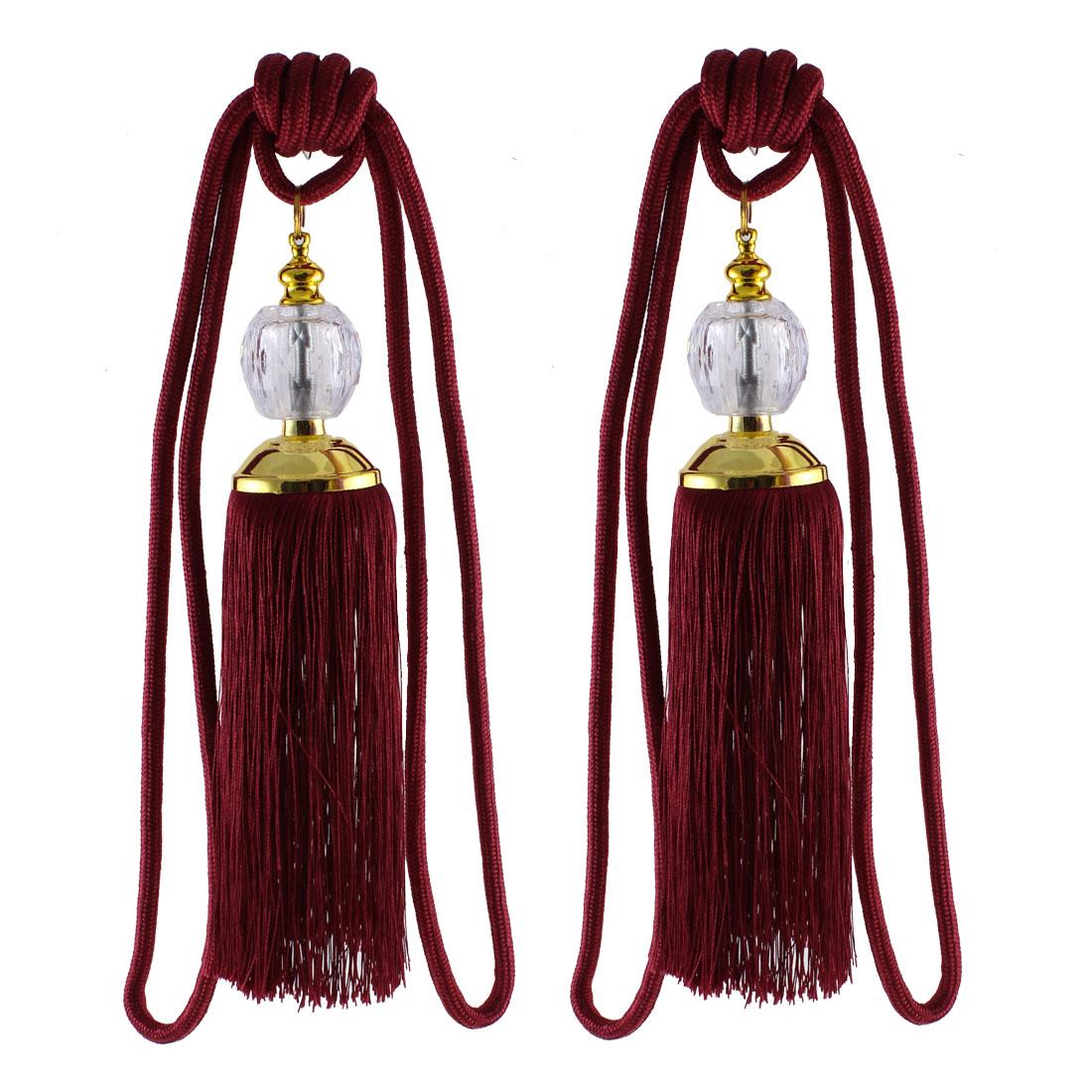Burgundy Dual Rope Cord Curtain Tassels Tie Backs Holdback Decor Pair