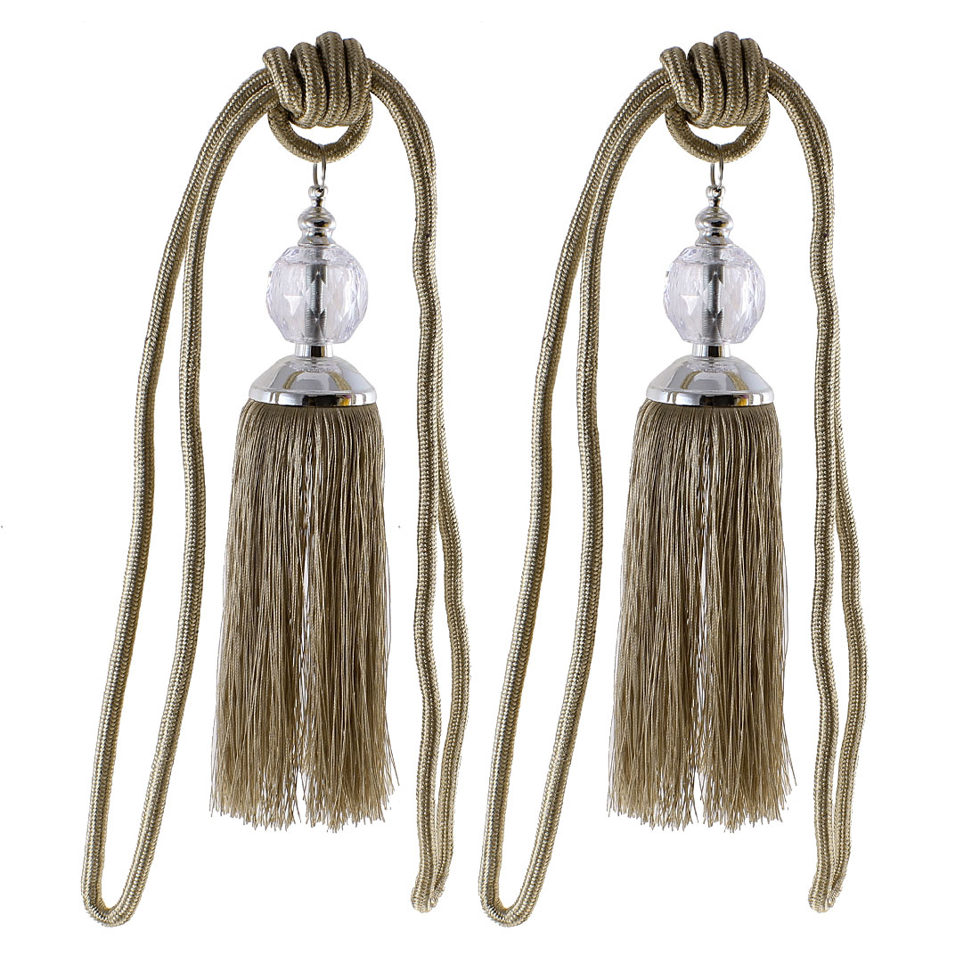 Pair Double Tassels Curtain Tieback Drapery Rope Drape Light Brown
