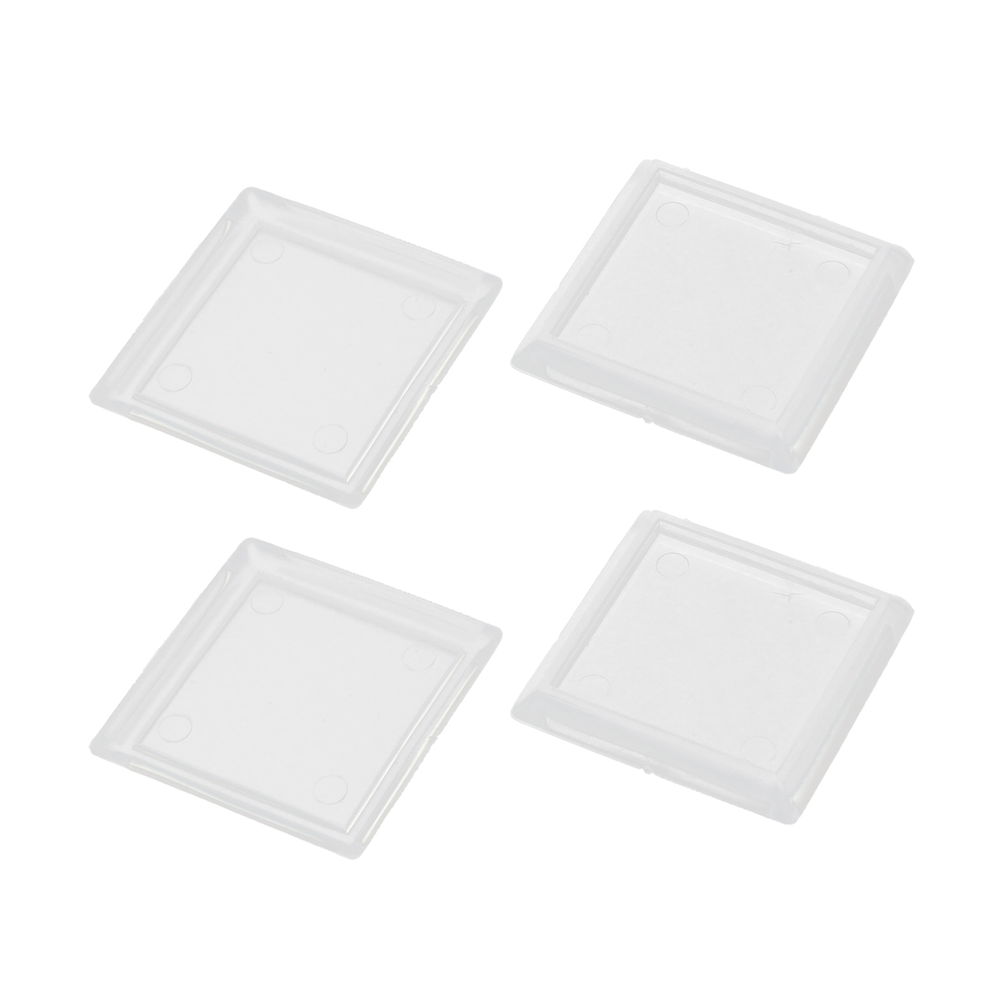Furniture Chair Leg Square Clear Rubber Pads Floor Protector Cushion 4pcs