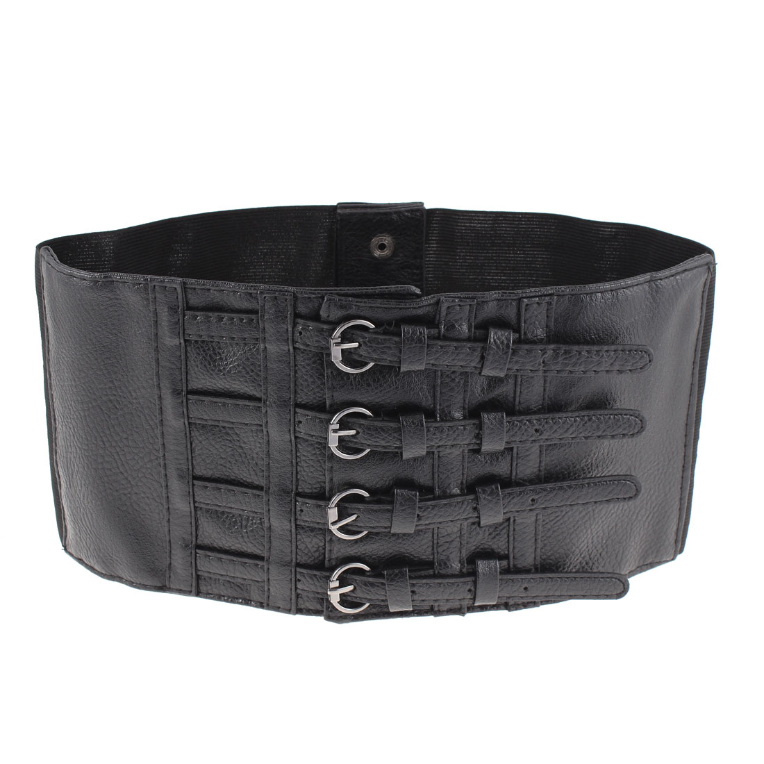 Women Faux Leather Press Buckle Black Wide Elastic Waist Belt Waistband