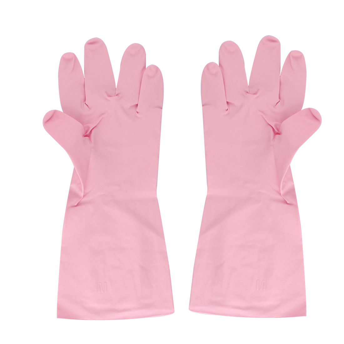Pink Rubber Kitchen Dish Washing Cleaning Protect Hand Gloves Pair