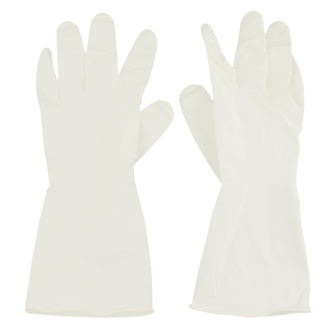 Kitchen Work White Rubber Dish Washing Cleaning Gloves Hand Protector Pair