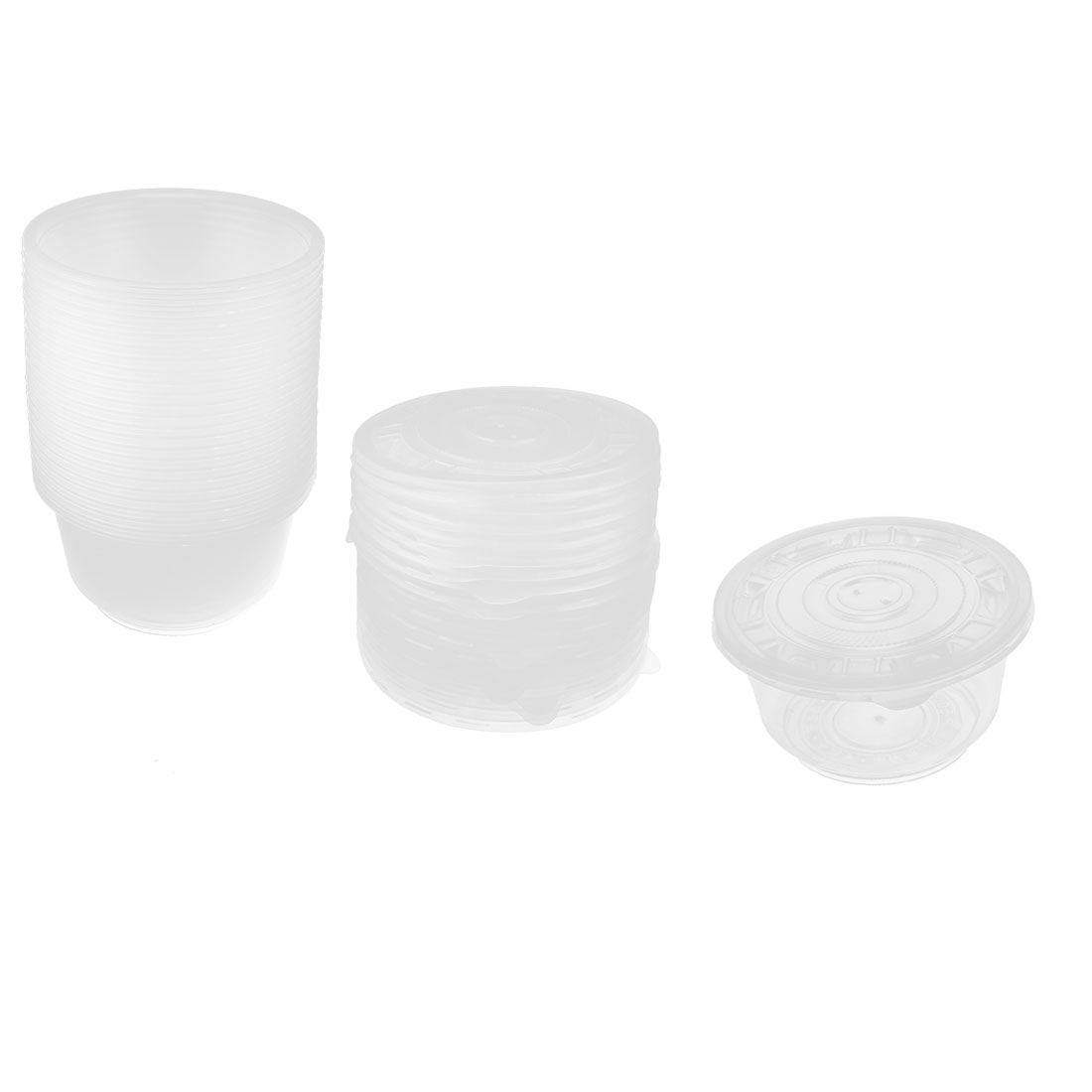 25pcs Outdoor Picnic Clear Plastic Disposable Rice Soup Bowl w Caps