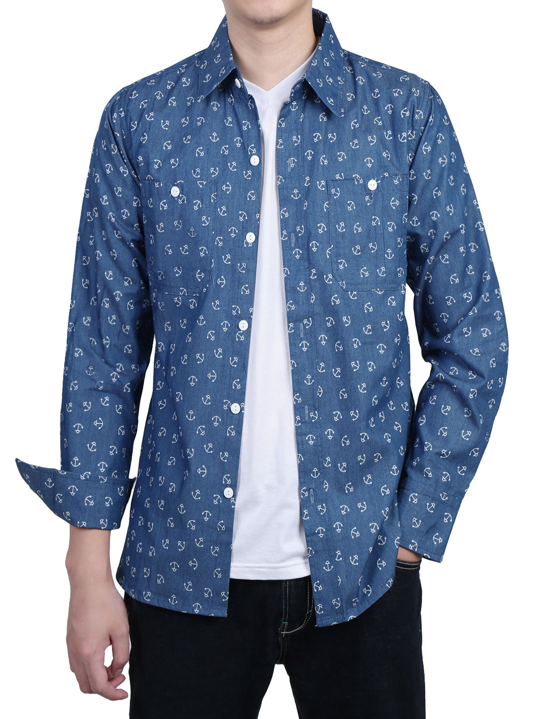 Men Long Sleeves Anchor Slim Fit Denim Button Up Shirt Navy Blue S