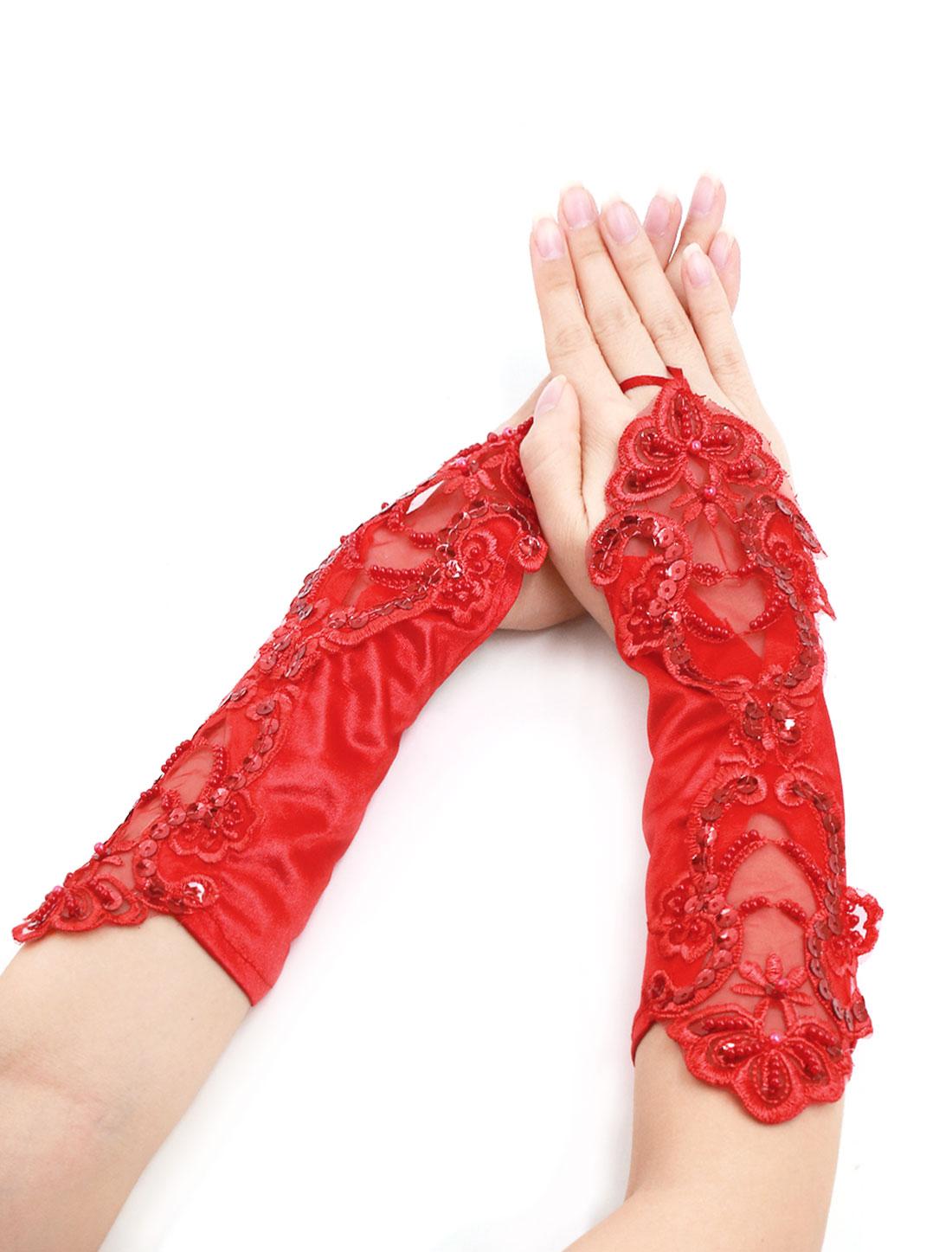 Women Beaded Sequined Crochet Fingerless Gloves Pair Red
