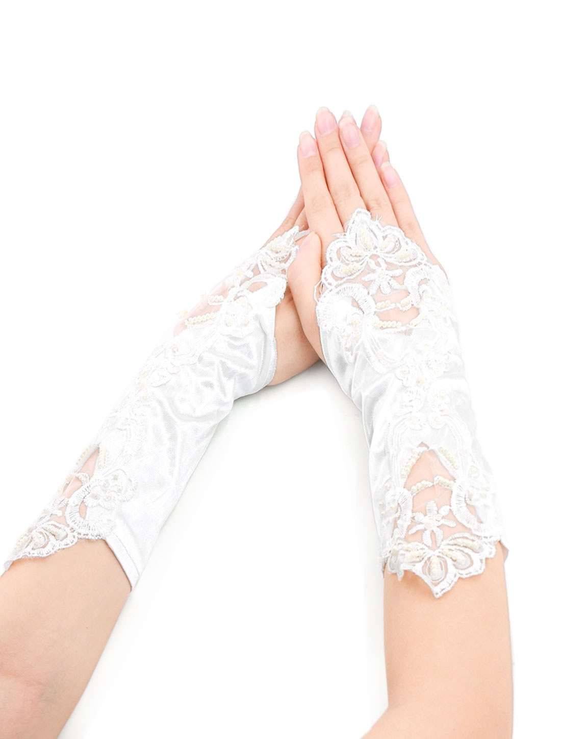 Women Beaded Sequined Mesh Crochet Fingerless Gloves White