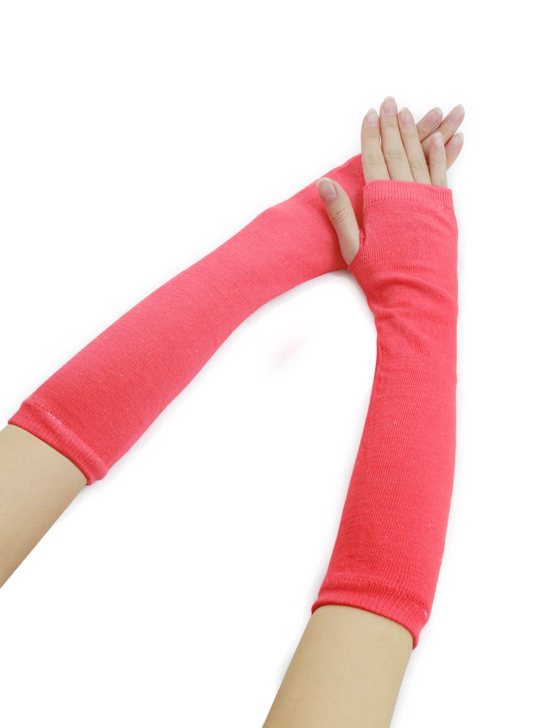 Woman Fingerless Thumbhole Opera Length Arm Warmers Pink