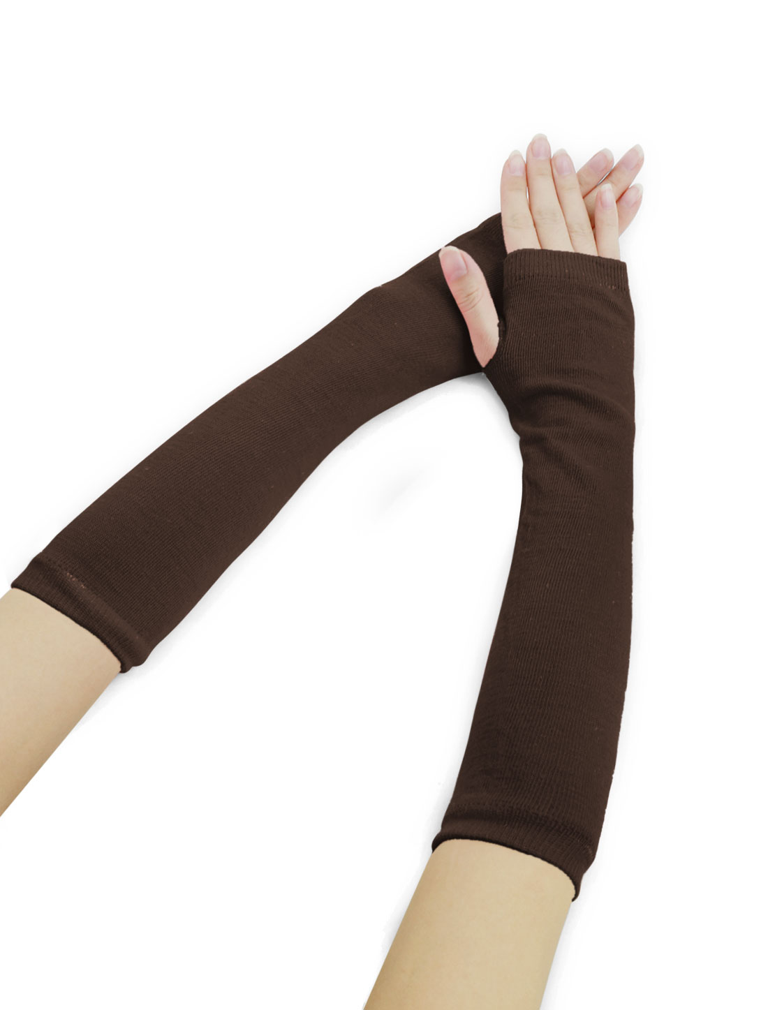 Woman Fingerless Thumbhole Opera Length Arm Warmers Brown
