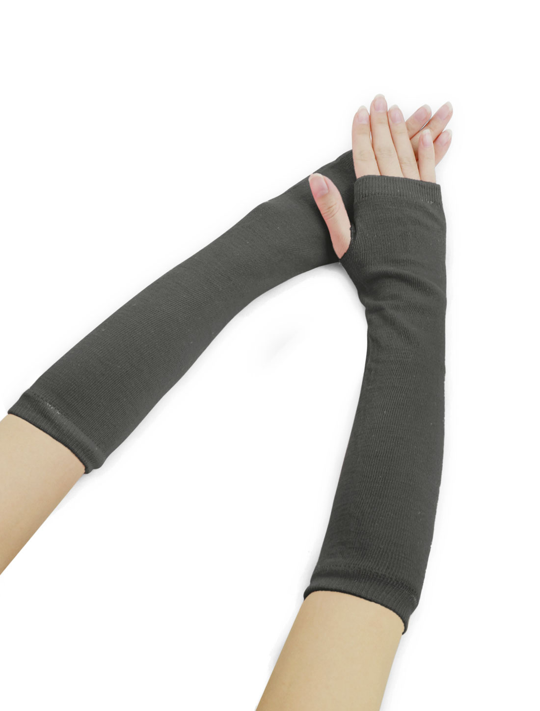 Woman Fingerless Thumbhole Opera Length Arm Warmers Dark Gray