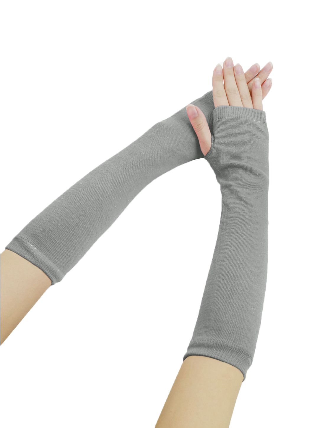 Woman Fingerless Thumbhole Opera Length Arm Warmers Light Gray