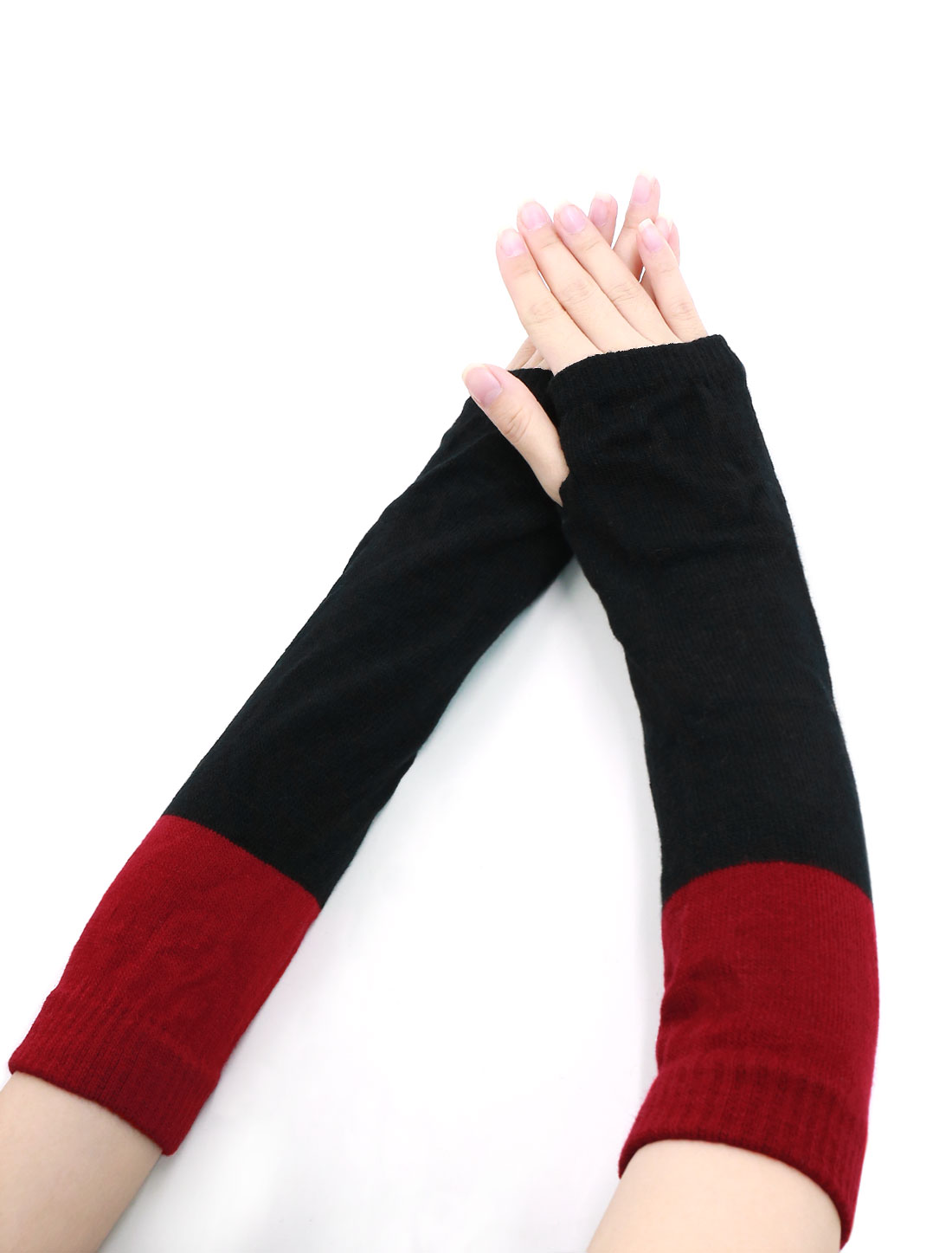 Lady Color Block Knit Fingerless Gloves Pair Red Black