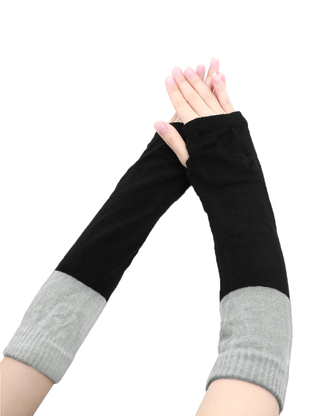 Lady Color Block Knit Fingerless Gloves Pair Gray Black
