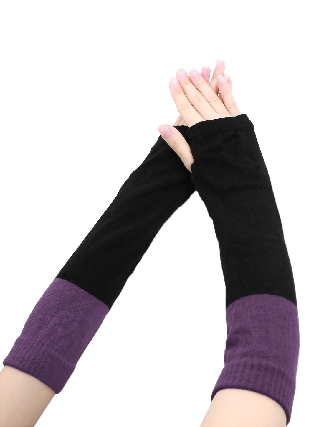 Lady Color Block Knit Fingerless Gloves Pair Purple Black