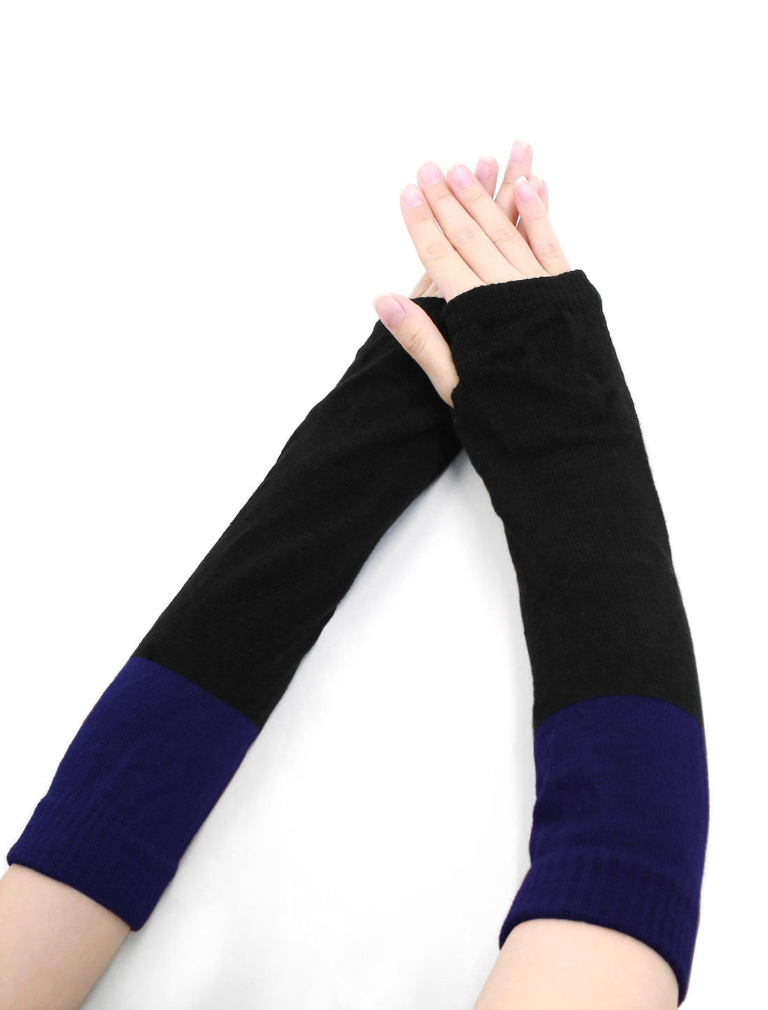 Lady Color Block Knit Fingerless Gloves Pair Blue Black