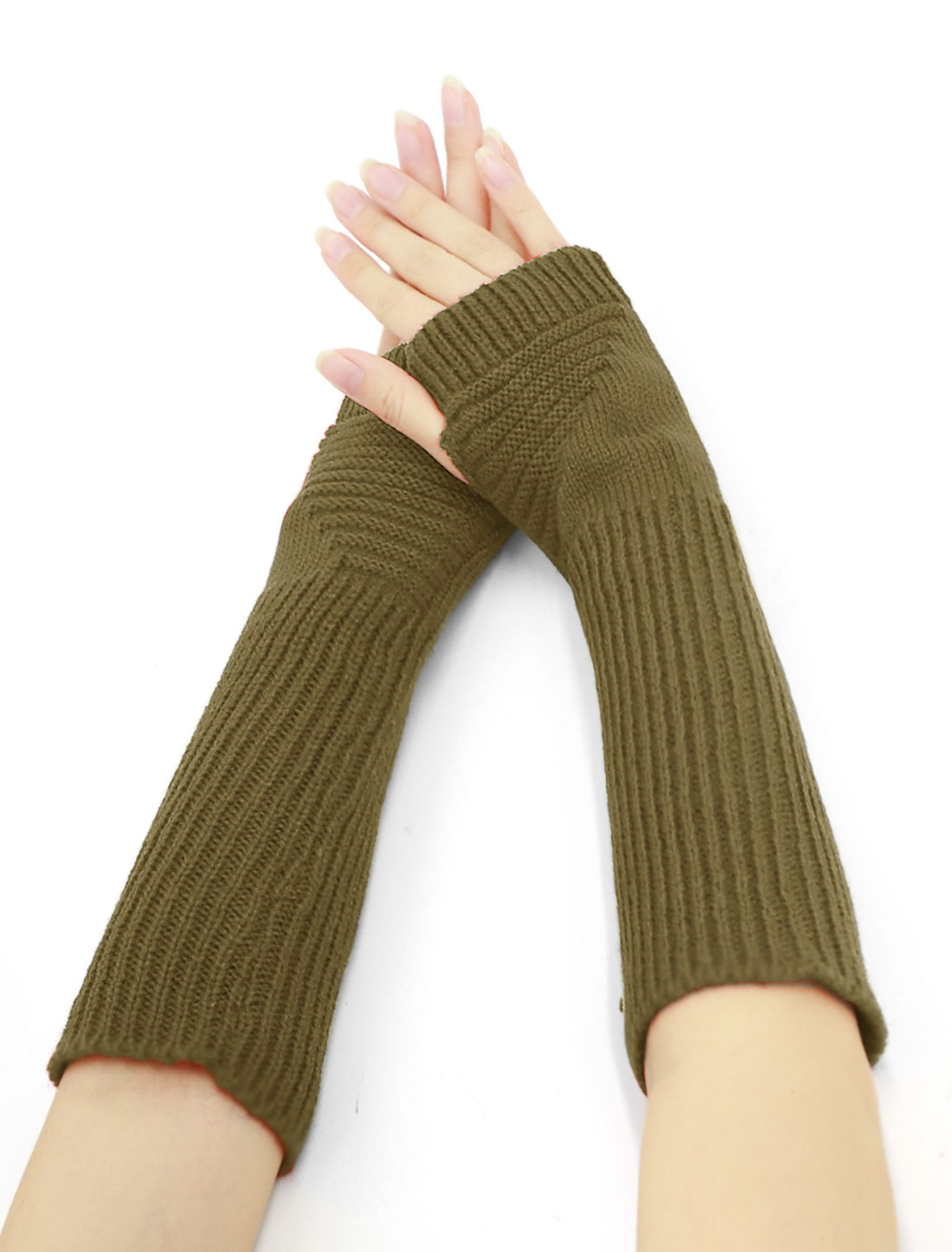 Women Elbow Length Ribbed Knitted Arm Warmers Pair Green