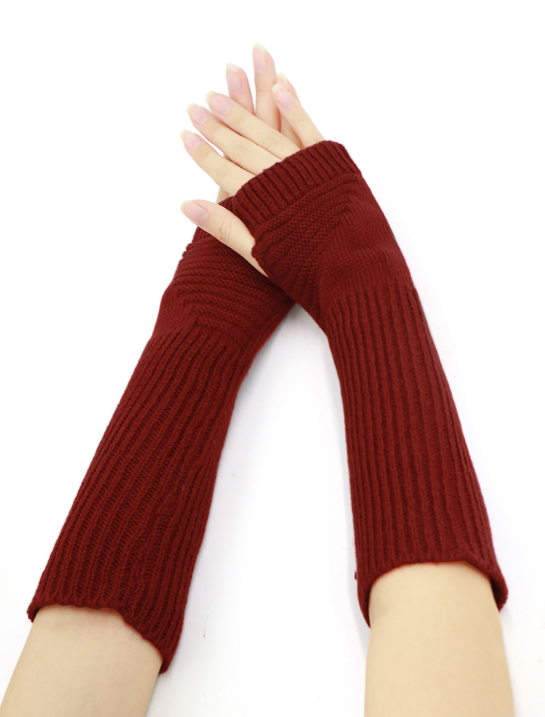 Women Elbow Length Ribbed Knitted Arm Warmers Pair Red